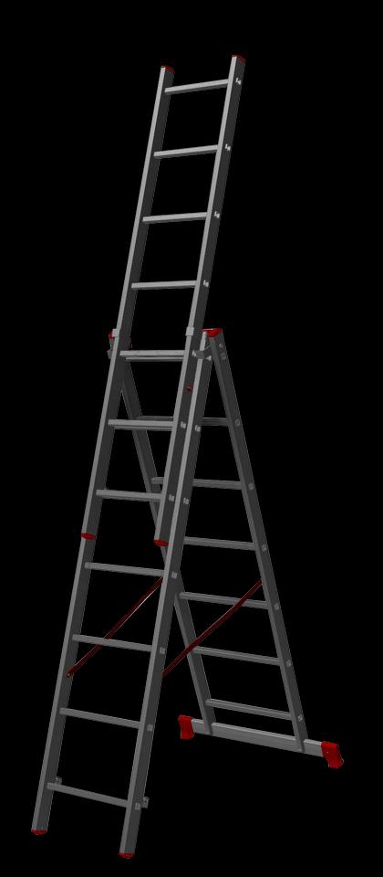 трехсекционная лестница, 7 перекладин на сецию