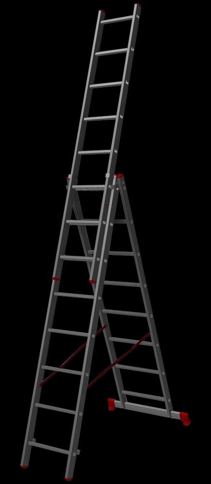трехсекционная лестница, 8 перекладин на сецию
