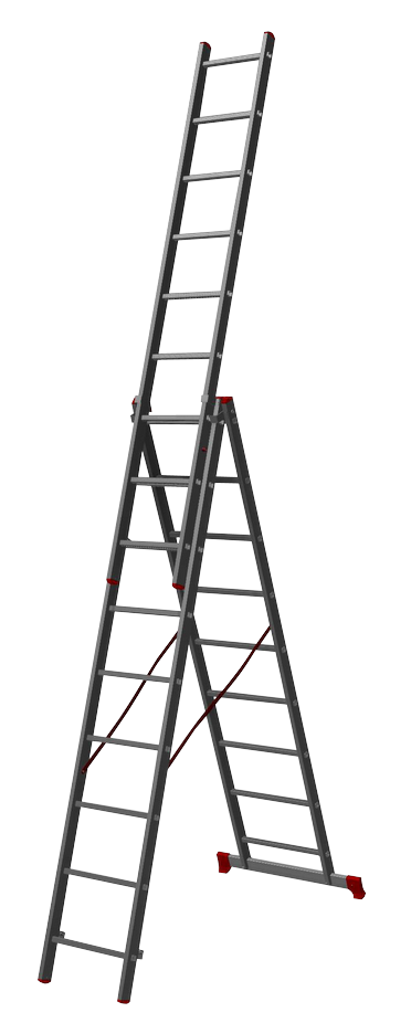 трехсекционная лестница, 9 перекладин на сецию