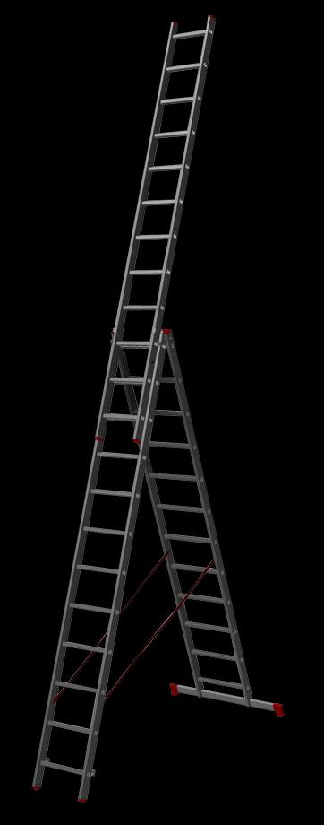 трехсекционная лестница, 12 перекладин на сецию