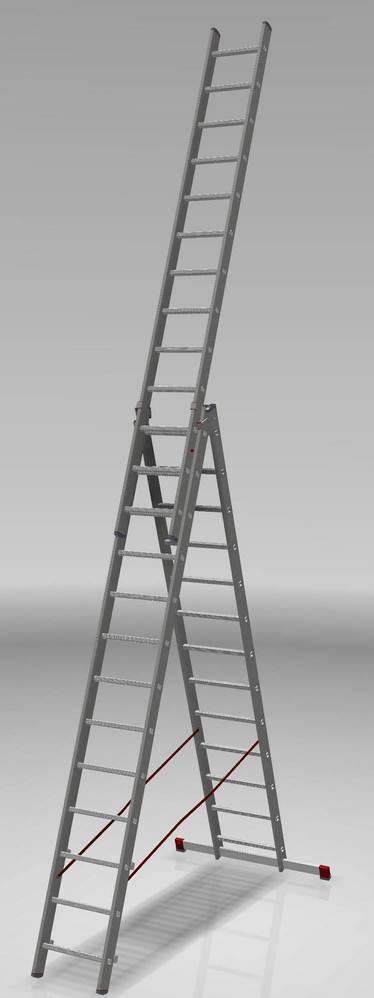 трехсекционная лестница, 13 перекладин на сецию