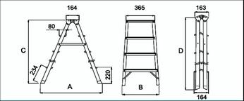 Стремянка алюминиевая двусторонняя 3 ступени - размеры
