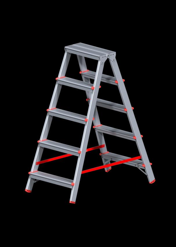 Стремянка алюминиевая двусторонняя 5 ступеней