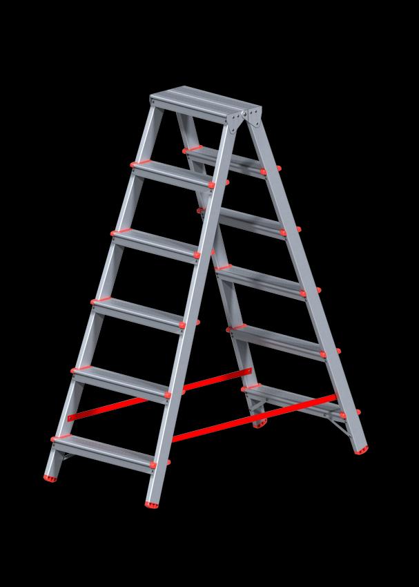 Стремянка алюминиевая двусторонняя 6 ступеней