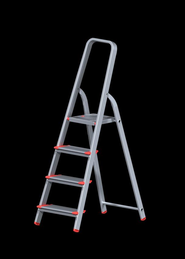 Стремянка алюминиевая профессиональная с широкой ступенью 130 мм 4 ступени