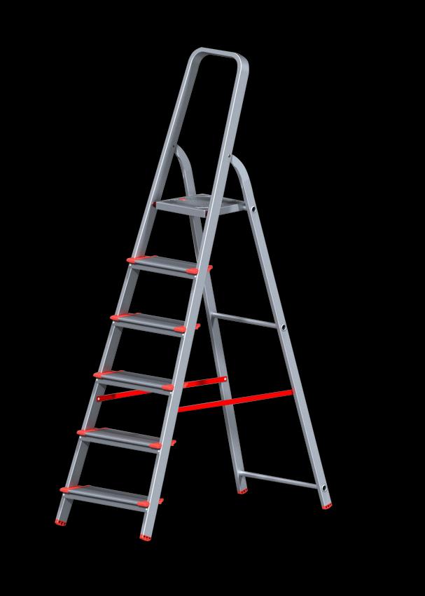 Стремянка алюминиевая профессиональная с широкой ступенью 130 мм 6 ступеней
