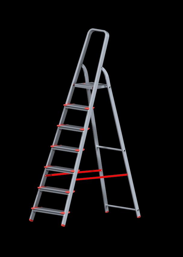 Стремянка алюминиевая профессиональная с широкой ступенью 130 мм 7 ступеней