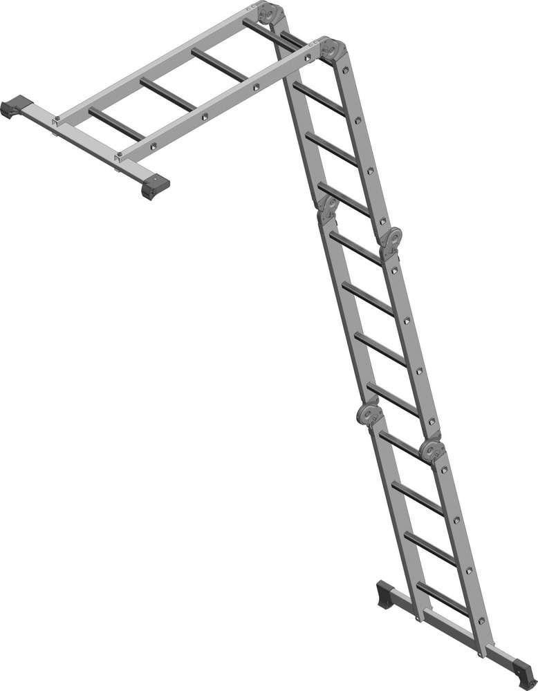 Лестница-трансформер 4х4 бытовая как приставная изогнутая