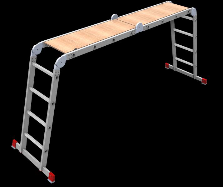 Лестница-трансформер 4х4 полупрофессиональная с площадкой